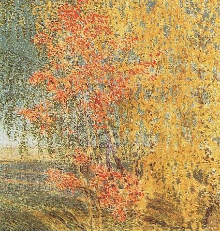 """Bức """"Mùa thu. Thanh hương trà và cây bulô"""" (1924) - danh họa người Nga Igor Grabar."""