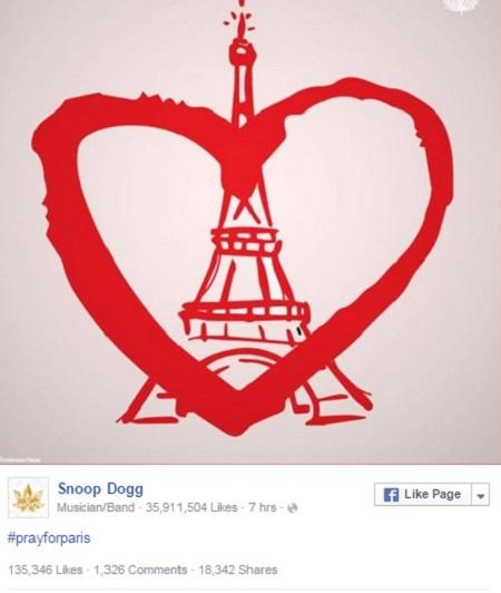 """Nam rapper Snoop Dogg: """"Cầu nguyện cho Paris""""."""