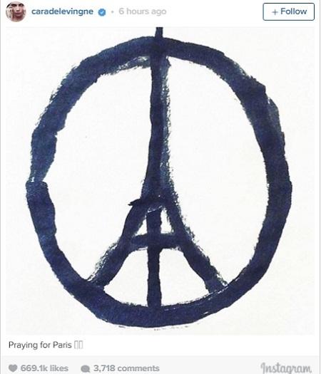 """Siêu mẫu Cara Delevingne đã sử dụng hình vẽ biểu tượng này với lời nhắn gửi """"Nguyện cầu cho Paris""""."""