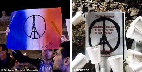 Biểu tượng hòa bình cho Paris xuất hiện trên khắp thế giới những ngày này.