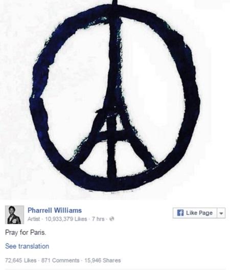 """Nam ca sĩ Pharrell Williams cùng """"Cầu nguyện cho Paris""""."""