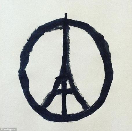 Một hình vẽ giản dị kết hợp giữa biểu tượng hòa bình và tháp Eiffel - biểu trưng của Paris đã trở thành hình vẽ mang tính biểu trưng trên toàn thế giới, nhằm thể hiện tình đoàn kết và lời nguyện cầu hòa bình cho Paris sau những sự vụ kinh hoàng đã xảy ra ở thành phố này vào tối thứ 6 (13/11) vừa qua.