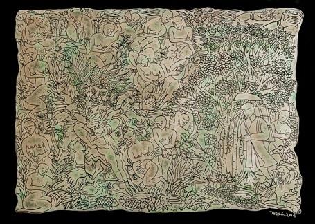 """Tác phẩm """"Đường đi"""" (chất liệu sơn khắc) của tác giả Phan Cẩm Thượng được bán với giá cao nhất (5.000 USD)."""