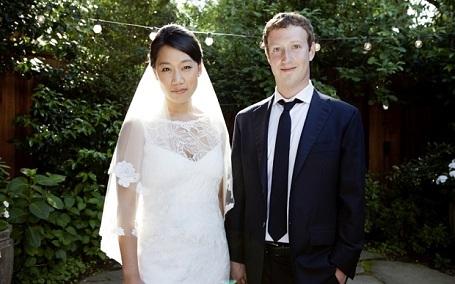 Vợ chồng Zuckerberg trong ngày cưới