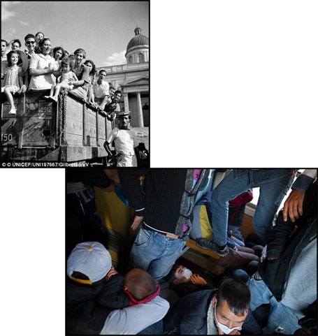 Trái: Ở Hy Lạp năm 1946, những trẻ em trở thành trẻ mồ côi vì chiến tranh đang được đưa tới những gia đình nhận nuôi các em. Phải: Năm 2015, ở thị trấn Gevgelija, Macedonia, một cậu bé tị nạn đang cố gắng ngủ trên một chuyến tàu đông đúc, chật chội để tới được biên giới Serbia.