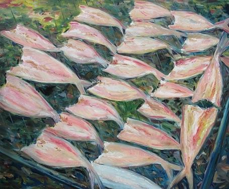 Cá phơi khô - Sumalee Ekachonniyom (Sơn dầu trên vải).
