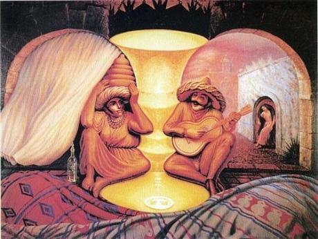 """Bức vẽ """"Mãi mãi luôn luôn"""" của họa sĩ người Mexico - Octavio Ocampo khắc họa một cặp vợ chồng già đang hồi tưởng lại một thời tuổi trẻ. Bạn có nhìn thấy hình ảnh thời thanh niên của họ?"""