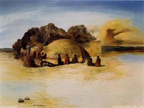 """Bức """"Gương mặt hoang tưởng"""" của họa sĩ người Tây Ban Nha - Salvador Dali."""