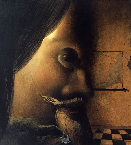 """Bức """"Hình ảnh biến mất"""" của danh họa Salvador Dali. Bức tranh khắc họa một gương mặt đàn ông được tạo nên từ dáng hình một người phụ nữ."""