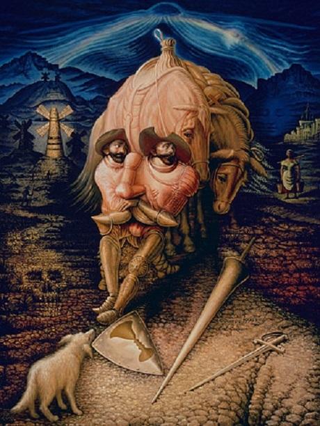 """Bức """"Tình bạn của Don Quixote"""" - họa sĩ Octavio Ocampo."""