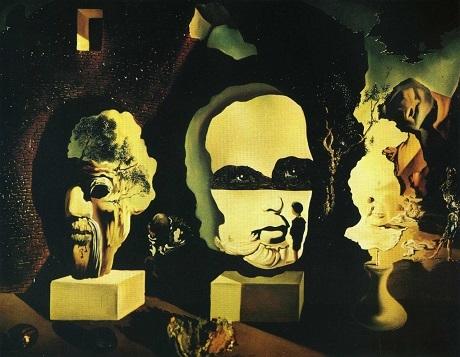 """Bức """"Tuổi già, Thanh thiếu niên, Sơ sinh (Ba giai đoạn)"""" là một bức tranh nổi tiếng của Salvador Dali. Bức tranh khắc họa người đàn ông đang ngồi trong căn nhà đổ nát, mở ra 3 khoảng không bên ngoài tương ứng với 3 gương mặt ở 3 giai đoạn của cuộc đời con người."""