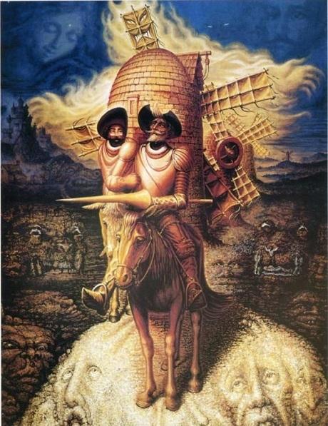 """Bức tranh """"Những hình ảnh của Don Quixote"""" cũng do Octavio Ocampo thực hiện đã đặc tả được sự điên rồ trong tính cách của nhân vật văn học này."""
