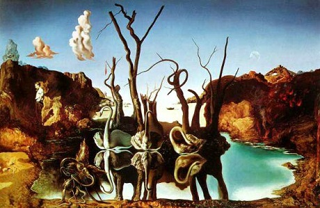 """Bức """"Thiên nga phản chiếu thành voi"""" của Salvador Dali."""
