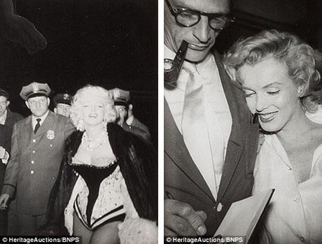 Marilyn xuất hiện tại một sự kiện trong trang phục khá gợi cảm (trái) và đi cùng với người chồng thứ 3 - biên kịch Arthur Miller (phải).
