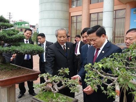 Lãnh đạo tỉnh Bắc Ninh tham quan khu vực trưng bày sinh vật cảnh.