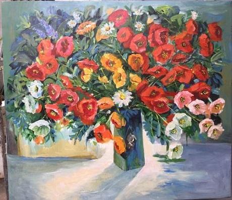 Rực rỡ mùa xuân, tranh sơn Dầu, Phan Thanh Mai