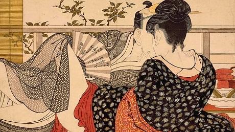 """Bức """"Tình nhân trên tầng lầu quán trà"""" nằm trong bộ tranh """"Bài thơ chiếc gối"""" của Kitagawa Utamaro."""