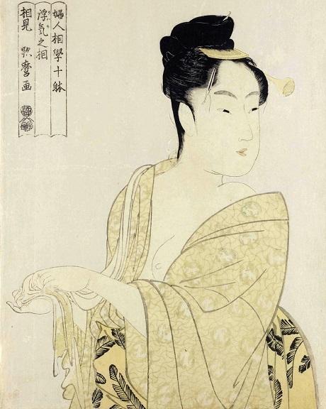 """Bức """"Không tưởng"""" nằm trong bộ tranh """"Mười nghiên cứu về diện mạo phụ nữ"""" của Kitagawa Utamaro."""