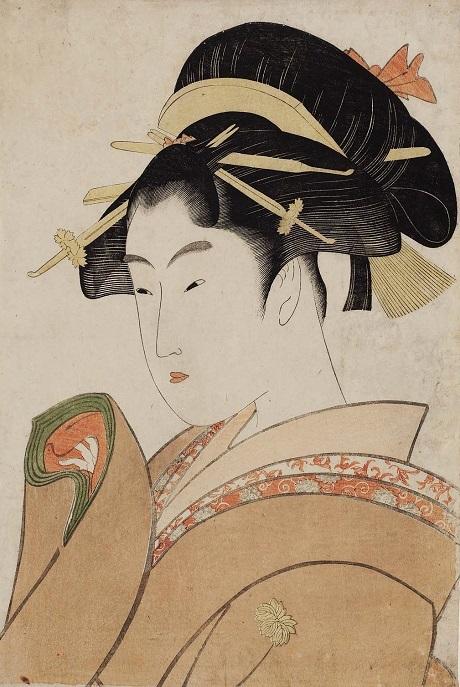"""Bức """"Tình hiếm thấy"""" trong bộ tranh """"Hợp tuyển thơ tình"""" của Kitagawa Utamaro."""