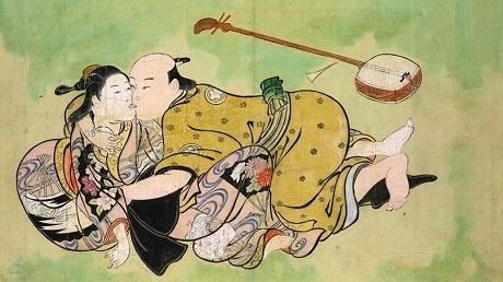 """Bức """"Chuyện yêu đương của người đàn ông và nàng geisha"""" nằm trong bộ tranh """"Chiêm ngưỡng 100 phụ nữ"""" của Nishikawa Sukenobu."""