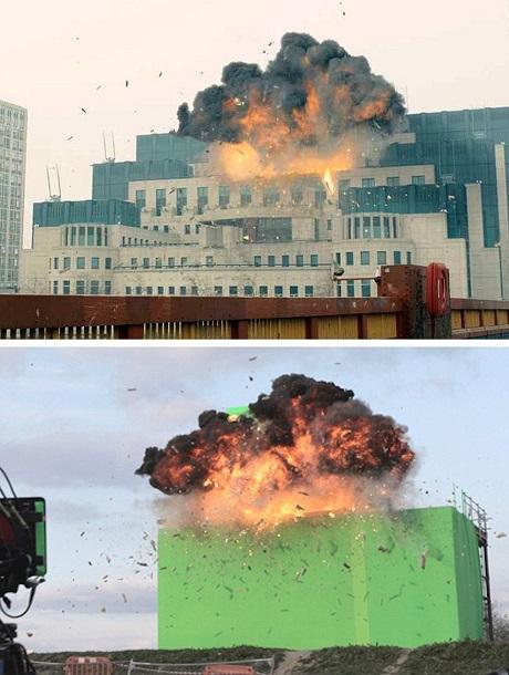 """Trụ sở MI6 (Cục tình báo Anh) nằm ở thành phố London bị nổ tung trong tập phim """"Skyfall"""" (2012). Dù cảnh phim rất chân thực nhưng chúng ta đều hiểu rằng đó hẳn phải là một sự dàn dựng. Thực tế, một mô hình đã được dựng lên trong studio. Khói lửa là thật, còn hình ảnh tòa nhà sẽ được kỹ thuật chèn vào phông xanh."""