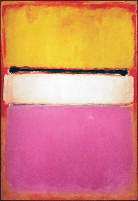 """Bức """"Màu trắng trung tâm (Vàng, Hồng và Oải hương chen hồng nhung)"""" của danh họa người Mỹ Mark Rothko được bán với giá 72,8 triệu đô la (1617 tỉ đồng)."""