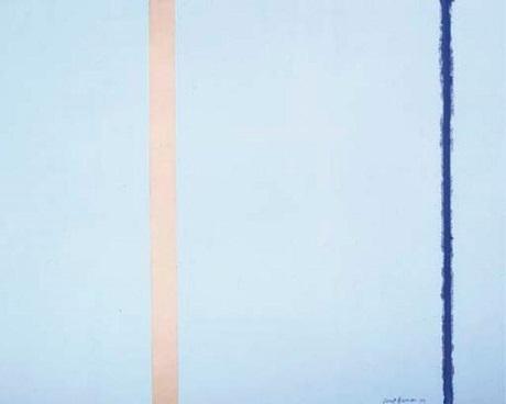 """Bức """"Lửa trắng I"""" của họa sĩ người Mỹ Barnett Newman được bán với giá 3,8 triệu đô la (84 tỉ đồng)."""