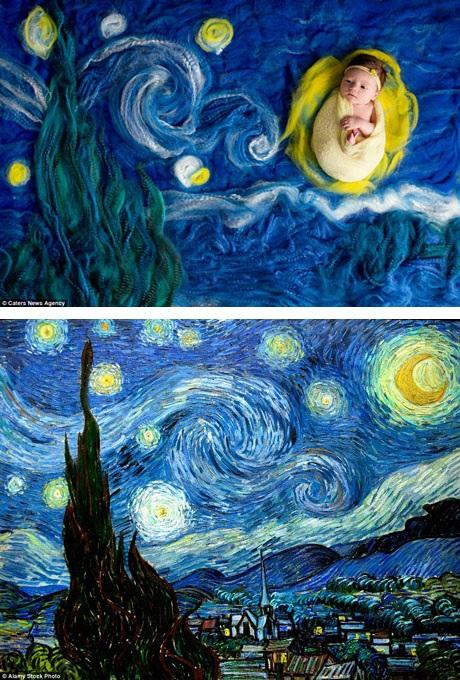 """Những bức tranh với gam màu ấn tượng của Van Gogh đã khơi gợi rất nhiều ý tưởng cho Lindsay. Như bức """"Đêm đầy sao"""" (dưới) cũng có thể trở thành một bối cảnh hoàn hảo."""