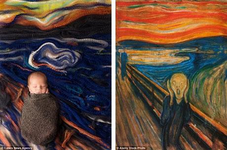 """Em bé trong bức ảnh trông yên bình hơn nhiều so với nhân vật xuất hiện trong bức """"Tiếng thét"""" của danh họa người Na Uy Edvard Munch (phải)."""