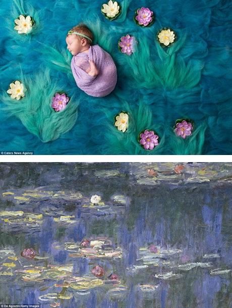 """Bức ảnh được thực hiện lấy cảm hứng từ bức """"Hoa súng"""" của danh họa Pháp Claude Monet."""