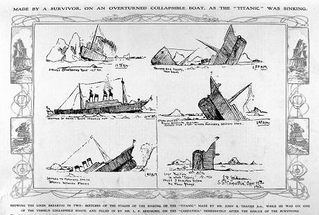 Một bức vẽ tay phác họa lại cảnh chìm tàu được thực hiện bởi một hành khách có tên John B. Thayer khi ông này đã được an toàn trên xuồng cứu hộ. Bản vẽ sau đó đã được viết thêm những dòng chú thích bởi hành khách P.L. Skidmore khi họ đã được an toàn trên tàu Carpathia.