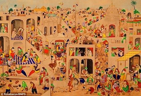 Bức tranh khắc họa thành phố Amritsar ở Ấn Độ, nơi có ngôi đền vàng nổi tiếng. Hình ảnh ngôi đền cũng được khắc họa trong tranh. Ban đầu, người lái xe taxi mua bức tranh với giá 40 bảng tại một phiên chợ đồ cũ.