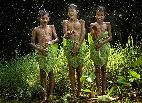 Tắm mưa (Ảnh: Gede Lila Kantiana)