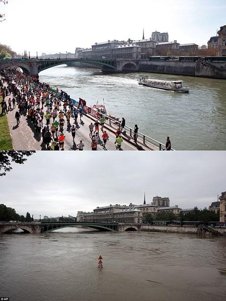 Hai bức ảnh đối lập cho thấy mực nước bình thường của sông Seine (trên) và mực nước đe dọa ở thời điểm hiện tại (dưới).