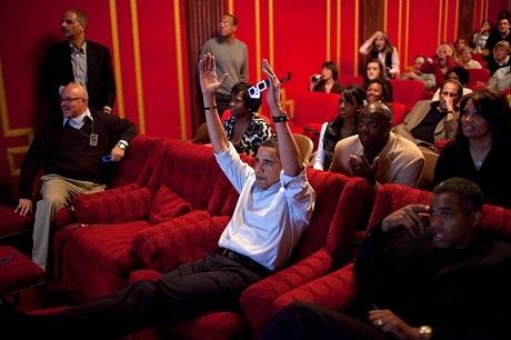 Bên trong phòng chiếu phim của Nhà Trắng.