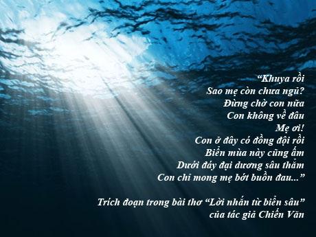 """Trào nước mắt bài thơ """"Lời nhắn từ biển sâu"""""""
