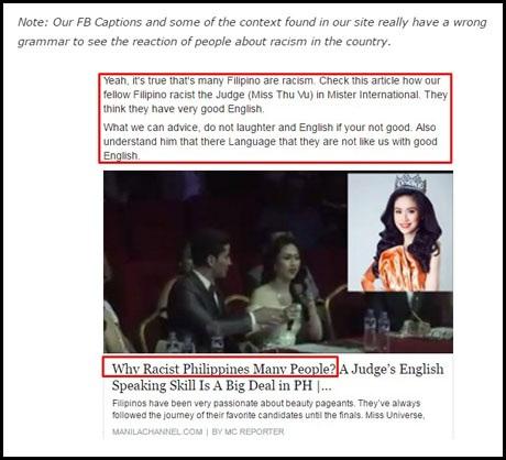 Manila Channel khẳng định rằng họ để các lỗi sai cú pháp, từ vựng trong đăng tải của mình là hoàn toàn có chủ ý.