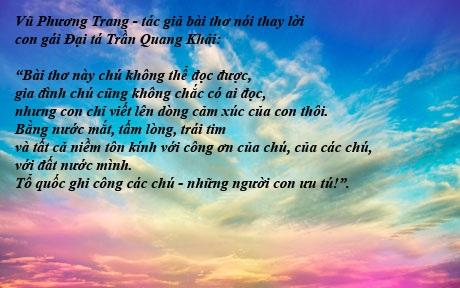 Bài thơ nghẹn ngào thay lời con gái Đại tá Trần Quang Khải của cô gái 18 tuổi