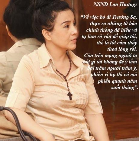 NSND Lan Hương đối diện dư luận thế nào sau việc bỏ đi Trường Sa?