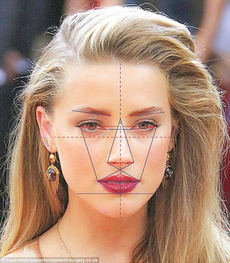 Nữ diễn viên Amber Heard, người vợ thứ hai của nam diễn viên Johnny Depp, có các tỉ lệ trên gương mặt gần với tỉ lệ vàng theo quan niệm của người Hy Lạp cổ đại.