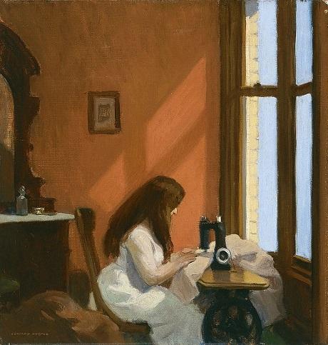 """Bức """"Girl at Sewing Machine"""" (Cô gái ngồi bên máy khâu)"""