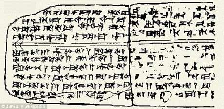 Những ký tự còn lại trên một tấm bảng làm từ đất sét nung, đây là những ký tự âm nhạc cổ xưa được khắc lên một khối đất sét để lưu giữ lại giai điệu. Nhạc phẩm này đã từng được sử dụng trong những nghi lễ tôn giáo.
