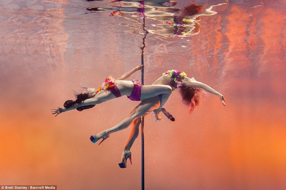 Những bức ảnh đẹp không tưởng cho thấy những vũ công múa cột trình diễn các động tác trong không gian dưới nước ngoạn mục như thế nào.