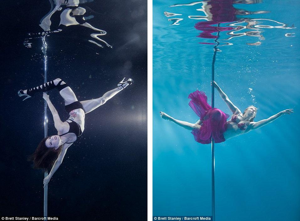 Không gian dưới nước khiến màu ảnh, đường nét trang phục, mái tóc, động tác của vũ công mang một nét đẹp huyền hoặc rất ấn tượng.
