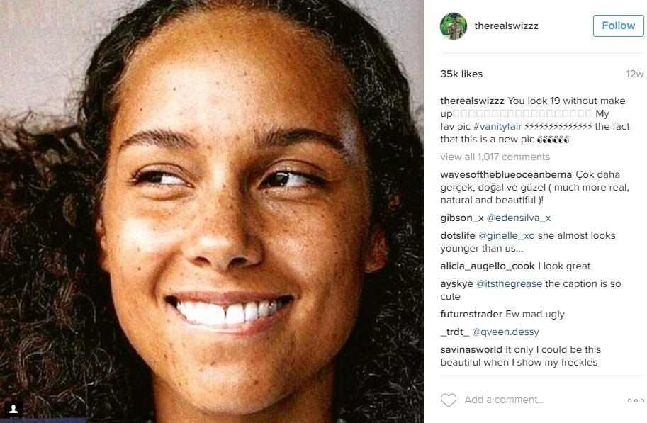 """Chồng của Alicia Keys đăng tải trên mạng xã hội một bức hình của vợ và khẳng định đây là bức ảnh khiến anh yêu thích nhất: """"Em trông như thể 19 tuổi khi không trang điểm""""."""