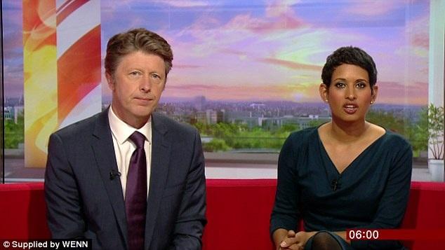 Nữ nhà báo Naga dẫn chương trình bản tin buổi sáng của đài BBC.