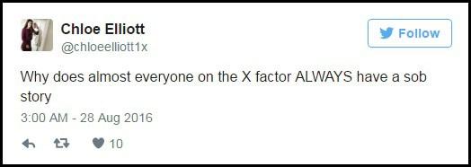 """""""Tại sao hầu như mọi thí sinh của X Factor đều luôn có một câu chuyện mùi mẫn để kể vậy?"""", một người dùng mạng xã hội đặt câu hỏi trên trang cá nhân."""