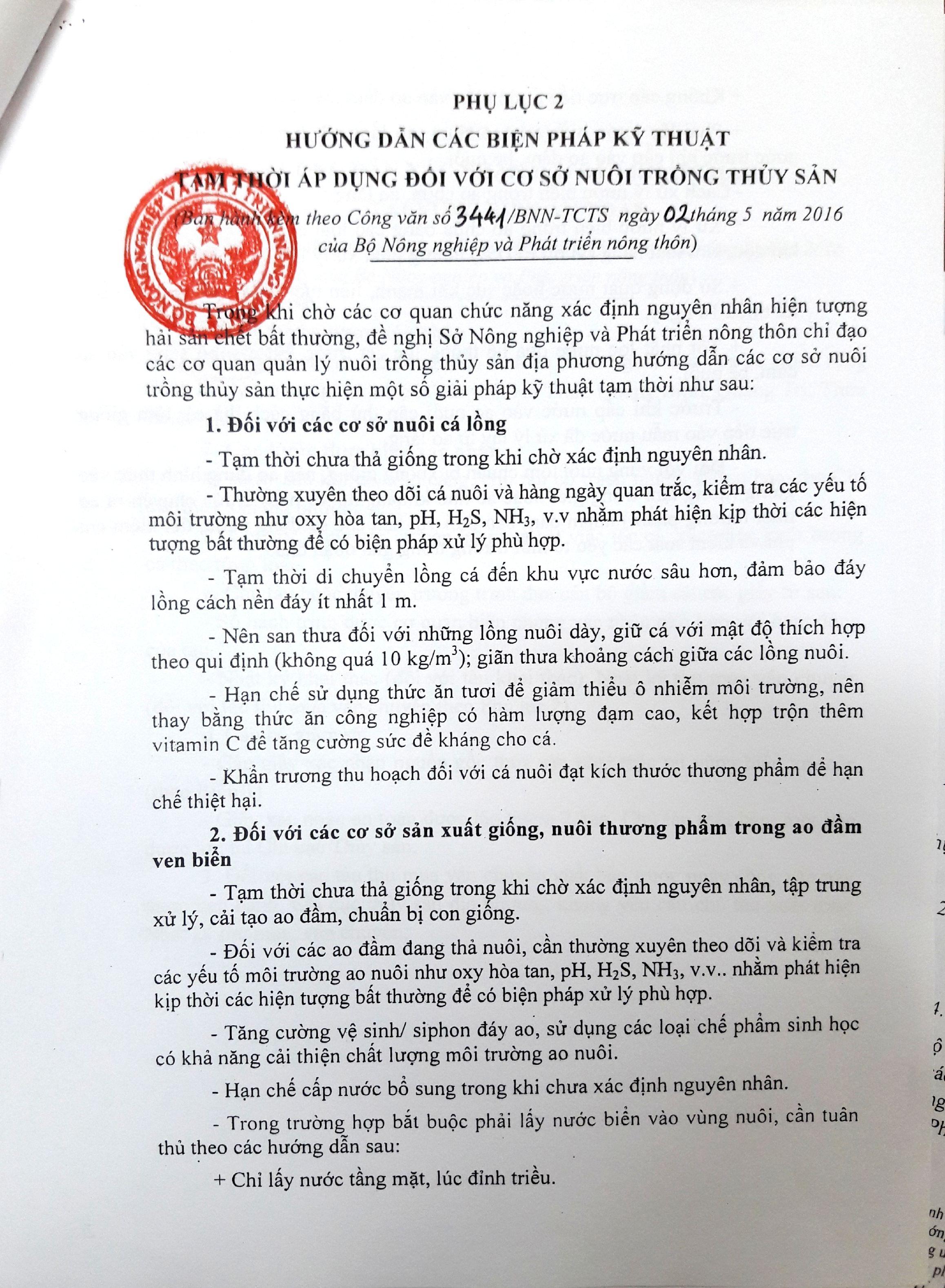 Các phụ lục của công văn số 3441 Bộ NN&PTNT