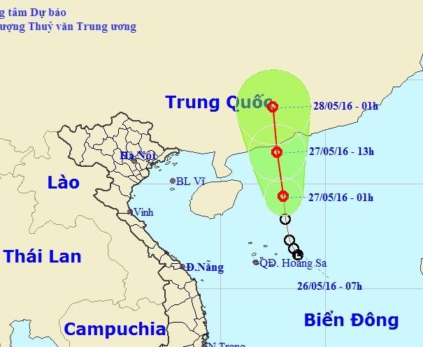 Vị trí và hướng đi của áp thấp nhiệt đới trên Biển Đông (ảnh: TTDBKTTVTU)
