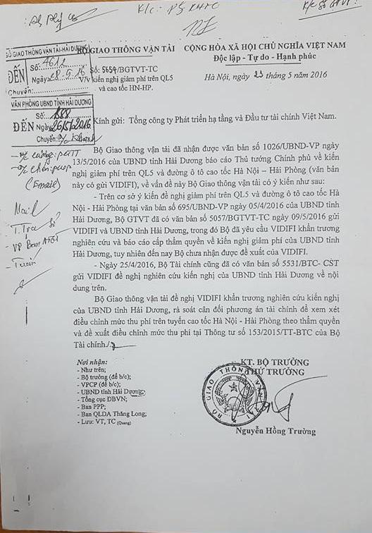 Văn bản của Bộ GTVT gửi VIDIFI